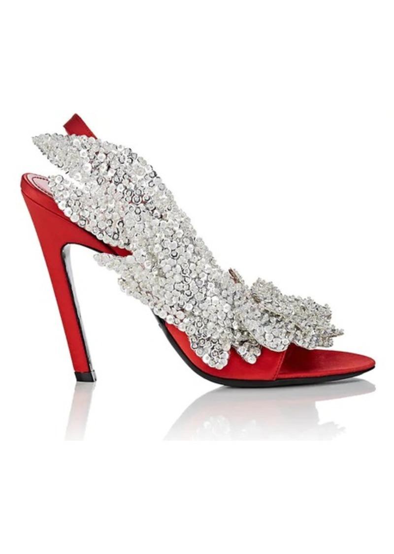 225550b01f26 Balenciaga Balenciaga Women s Leaf-Appliqué Satin Slingback Sandals ...