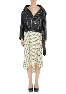 Balenciaga Women's Leather Swing Moto Jacket