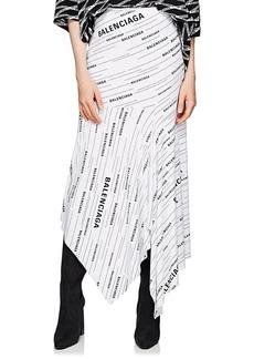 Balenciaga Women's Logo Jersey Asymmetric Skirt