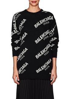 Balenciaga Women's Logo Wool-Blend Oversized Sweater