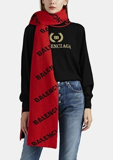 Balenciaga Women's Logo Wool Scarf - Orange