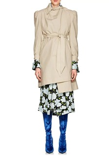 Balenciaga Women's Ruched Cotton Belted Trench Coat - 9641
