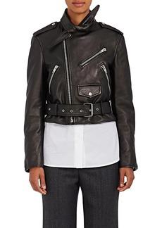 Balenciaga Women's Scarf-Neck Leather Moto Jacket