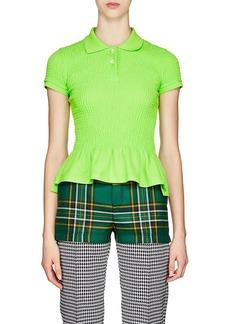 Balenciaga Women's Smocked Cotton Piqué Polo Shirt