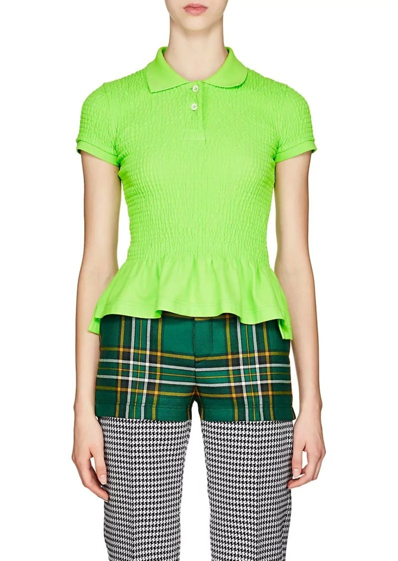 Balenciaga Women's Smocked Cotton Piqué Polo Shirt