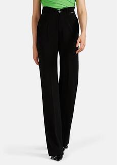 Balenciaga Women's V'd-Waist Fluid Crepe Wide-Leg Trousers