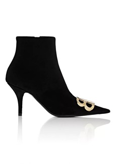 Balenciaga Women's Velour Ankle Booties