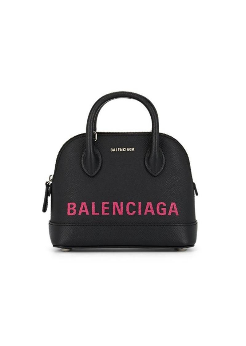 Balenciaga Women's Ville Extra-Extra-Small Leather Bowling Bag - Black