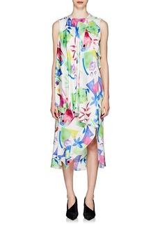 Balenciaga Women's Watercolor Logo-Jacquard Silk Asymmetric Dress