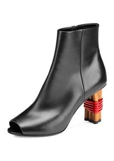 Balenciaga Wooden-Heel Open-Toe Bootie