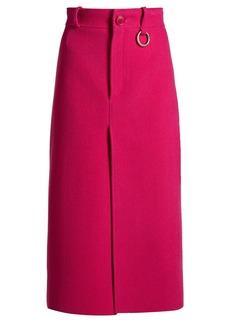 Balenciaga Wool-blend herringbone split-front midi skirt