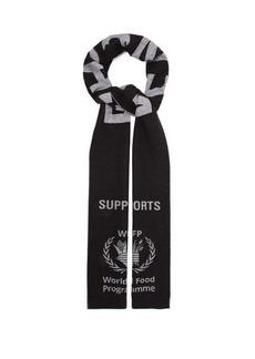 Balenciaga World Food Programme logo-intarsia wool scarf
