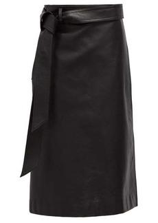 Balenciaga Wrap leather skirt