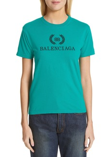 Balenciaga Wreath Logo Cotton Tee