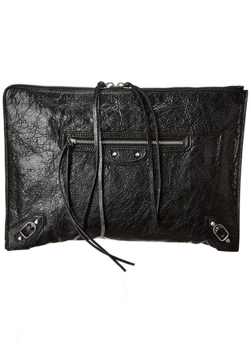 Balenciaga Zip Around Leather Clutch