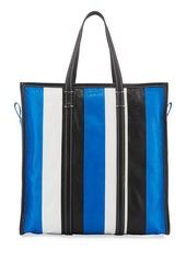 12378e8ba ... Balenciaga Bazar Medium Striped Leather Shopper Tote Bag  Green/White/Black
