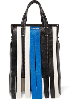 Balenciaga Bazar XS fringed striped textured-leather tote