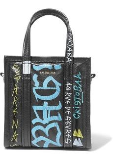 Balenciaga Bazar Xxs Graffiti Printed Textured-leather Tote
