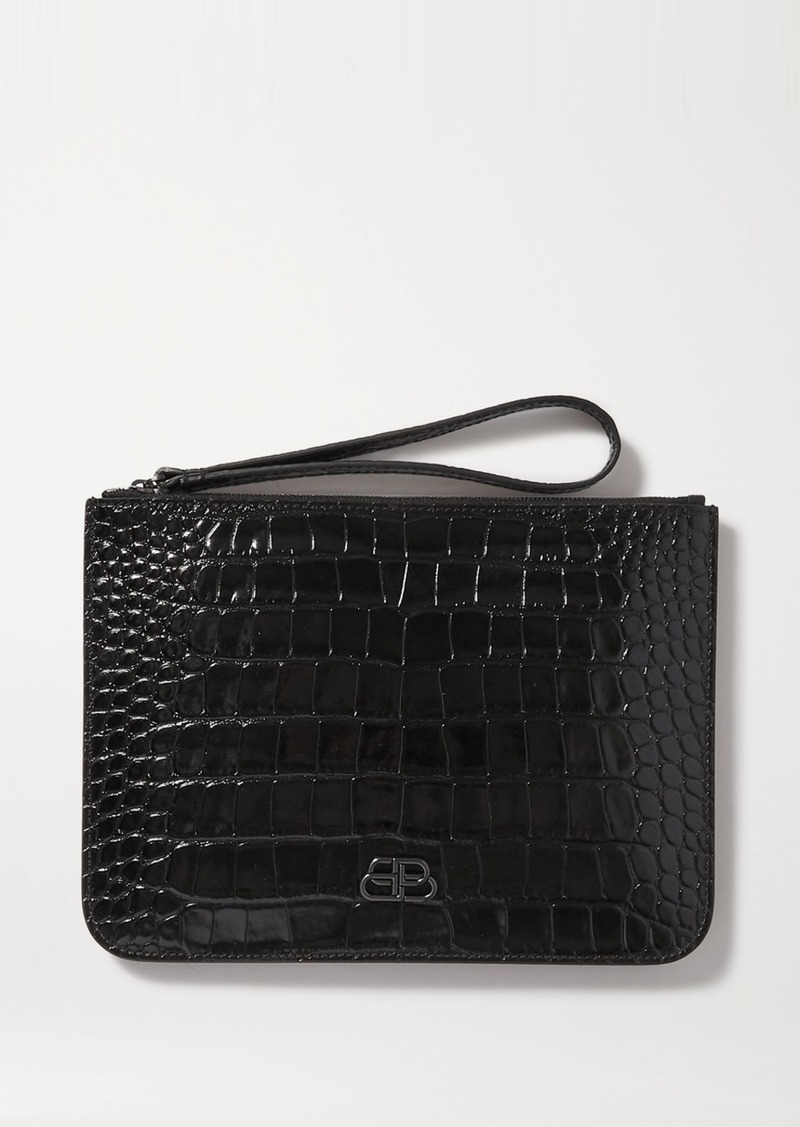 Bb Croc-effect Leather Pouch