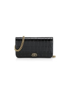 Balenciaga BB Croc-Embossed Leather Phone-Case-On-Chain