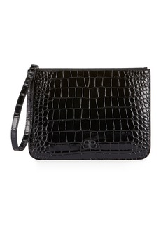 Balenciaga BB Croc-Embossed Pouch Wallet