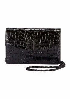 Balenciaga BB Croco Leather Wallet On Chain