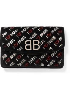 Balenciaga Bb Crystal-embellished Suede Shoulder Bag