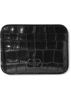 Balenciaga Bb Glossed Croc-effect Leather Cardholder