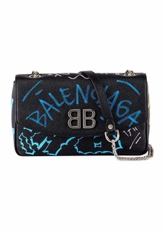 Balenciaga BB Graffiti Leather Wallet on Chain