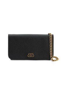 Balenciaga Bb Grained Leather Chain Wallet