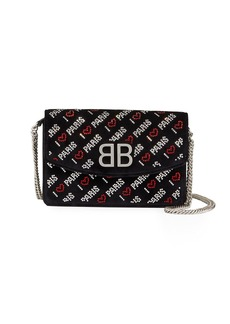 Balenciaga BB I Love Paris Embroidered Wallet On Chain