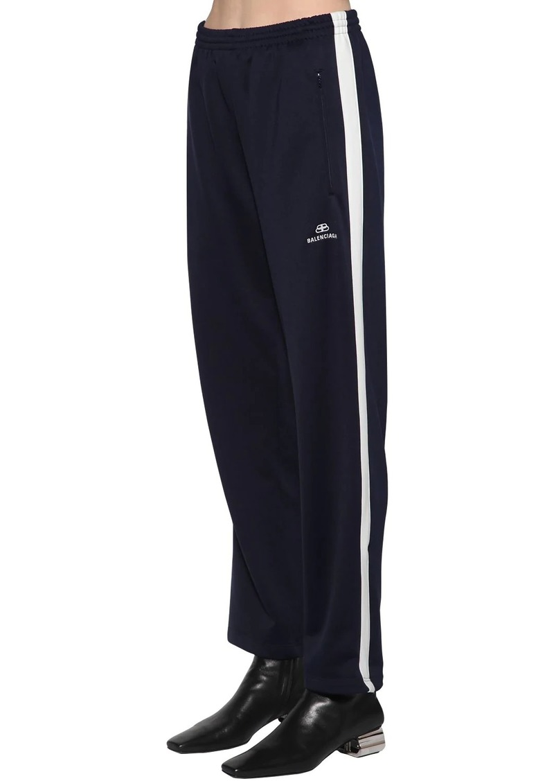 Balenciaga Bb Logo Cotton Jersey Track Pants