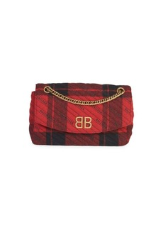 Balenciaga BB Logo Plaid Crossbody Bag