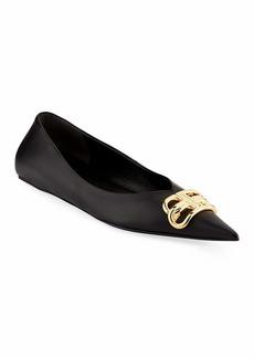 Balenciaga BB Medallion Point-Toe Ballerina Flats