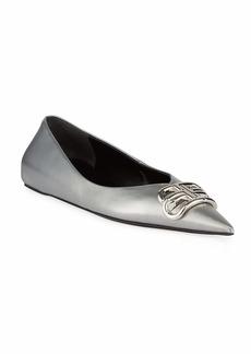 Balenciaga BB Metallic Leather Pointy-Toe Ballerina Flats