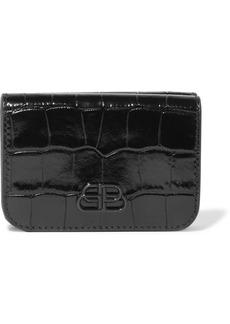 Balenciaga Bb Mini Glossed Croc-effect Leather Wallet