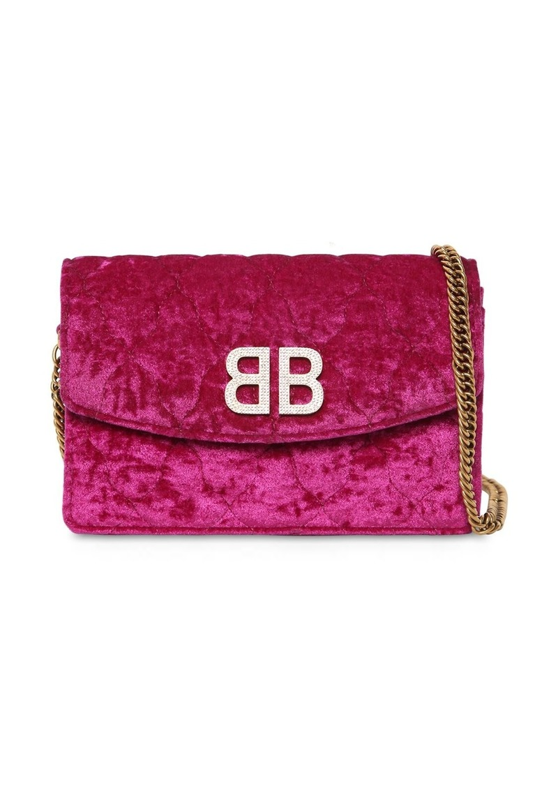 Balenciaga Bb Quilted Velvet Shoulder Bag
