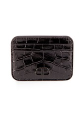Balenciaga BB Shiny Crocodile-Embossed Card Case