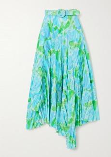 Balenciaga Belted Asymmetric Pleated Floral-print Crepe Midi Skirt