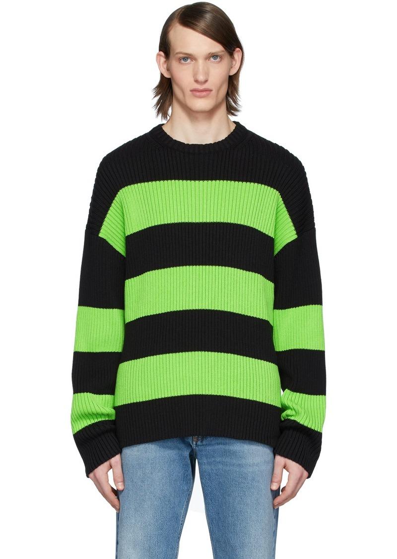 Balenciaga Black & Green Stripe Crewneck Sweater