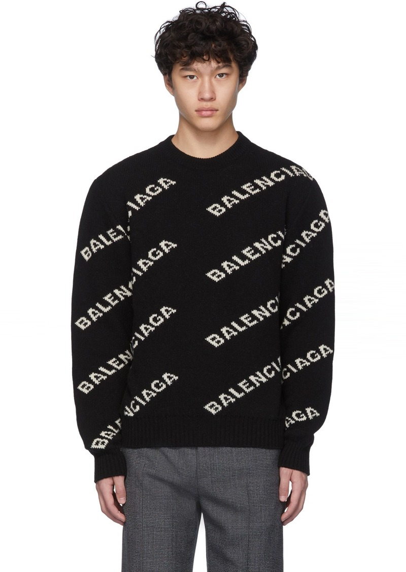 Balenciaga Black & White All Over Logo Sweater