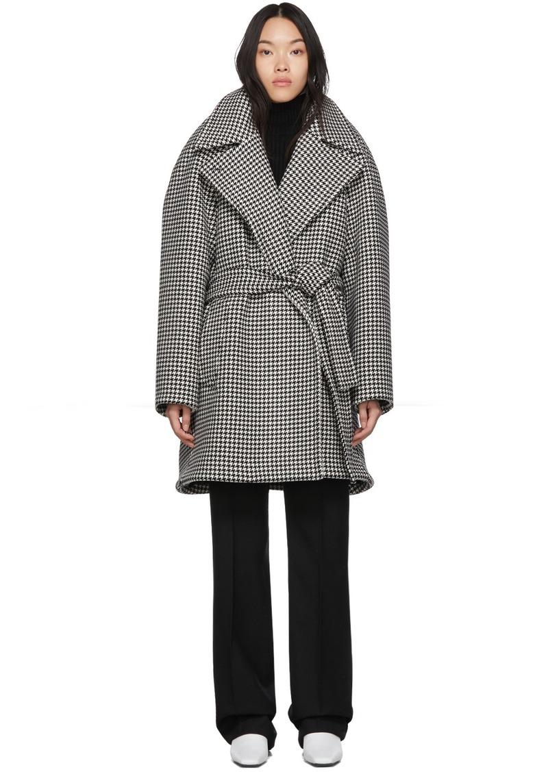 Balenciaga Black & White Houndstooth Pinched Wrap Coat