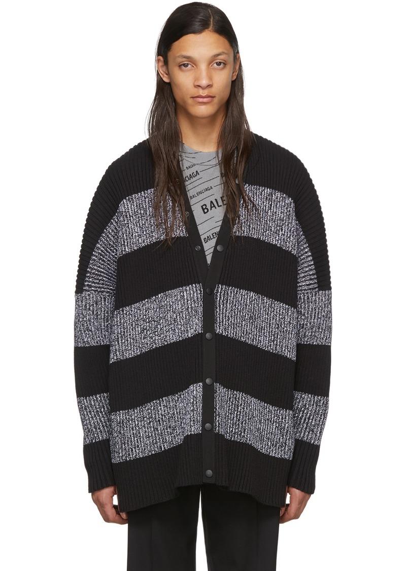 Balenciaga Black & White Stripey Cardigan