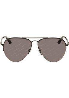 Balenciaga Black All Over Logo Aviator Sunglasses