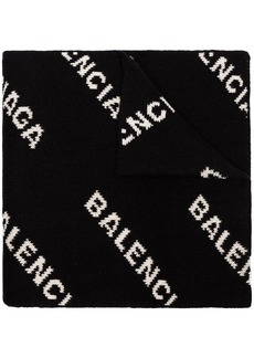 Balenciaga black and white logo intarsia wool blend scarf