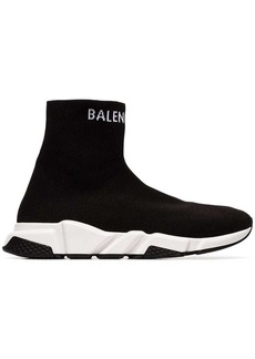 Balenciaga black and white Speed high-top sneakers