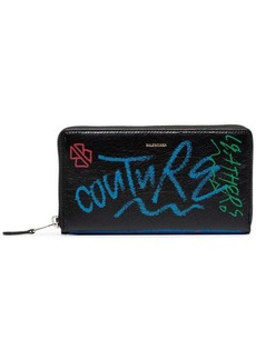 Balenciaga black bazar continental graffiti leather wallet