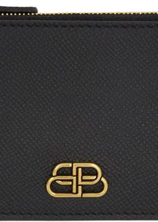 Balenciaga Black BB Zip Keychain Wallet
