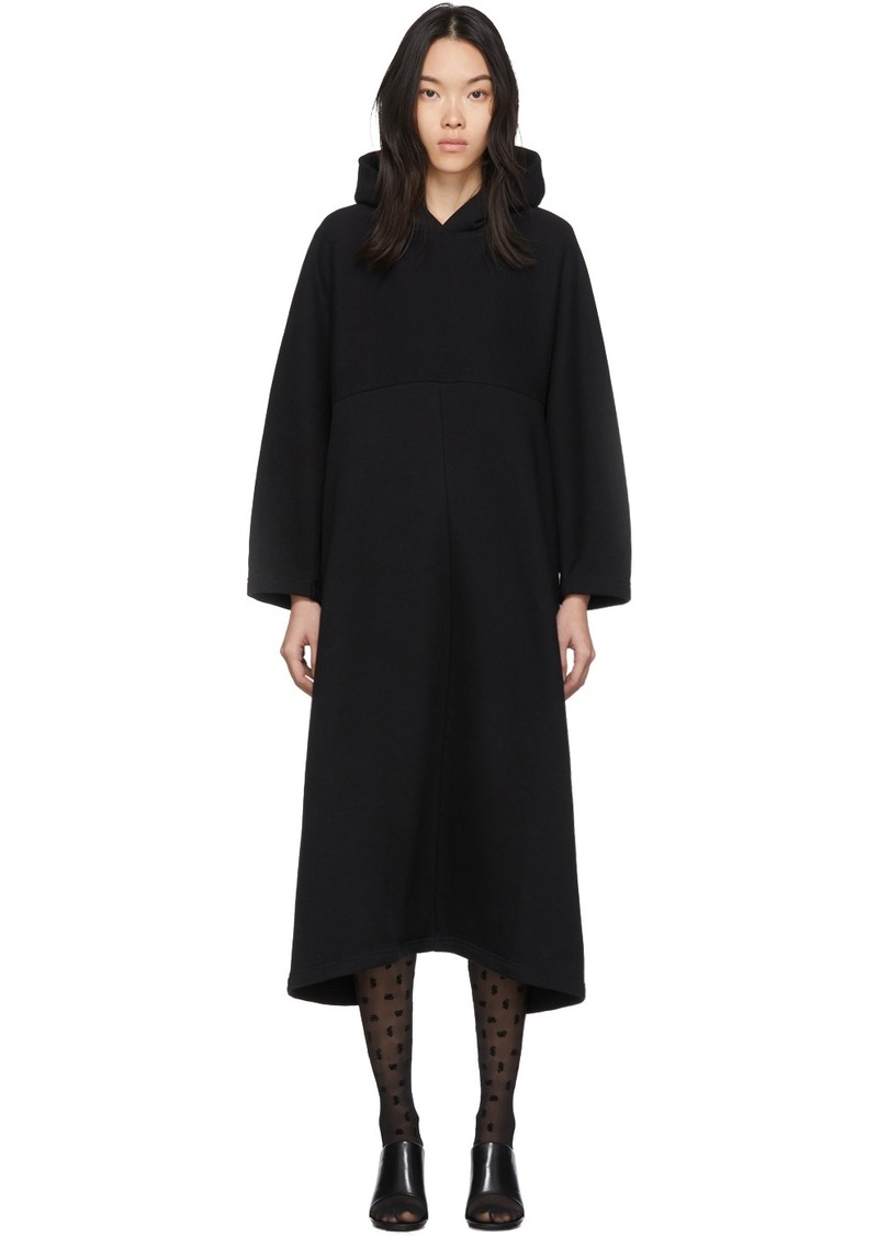 Balenciaga Black Cocoon Hooded Sweatshirt Dress