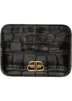 Balenciaga Black Croc BB Card Holder